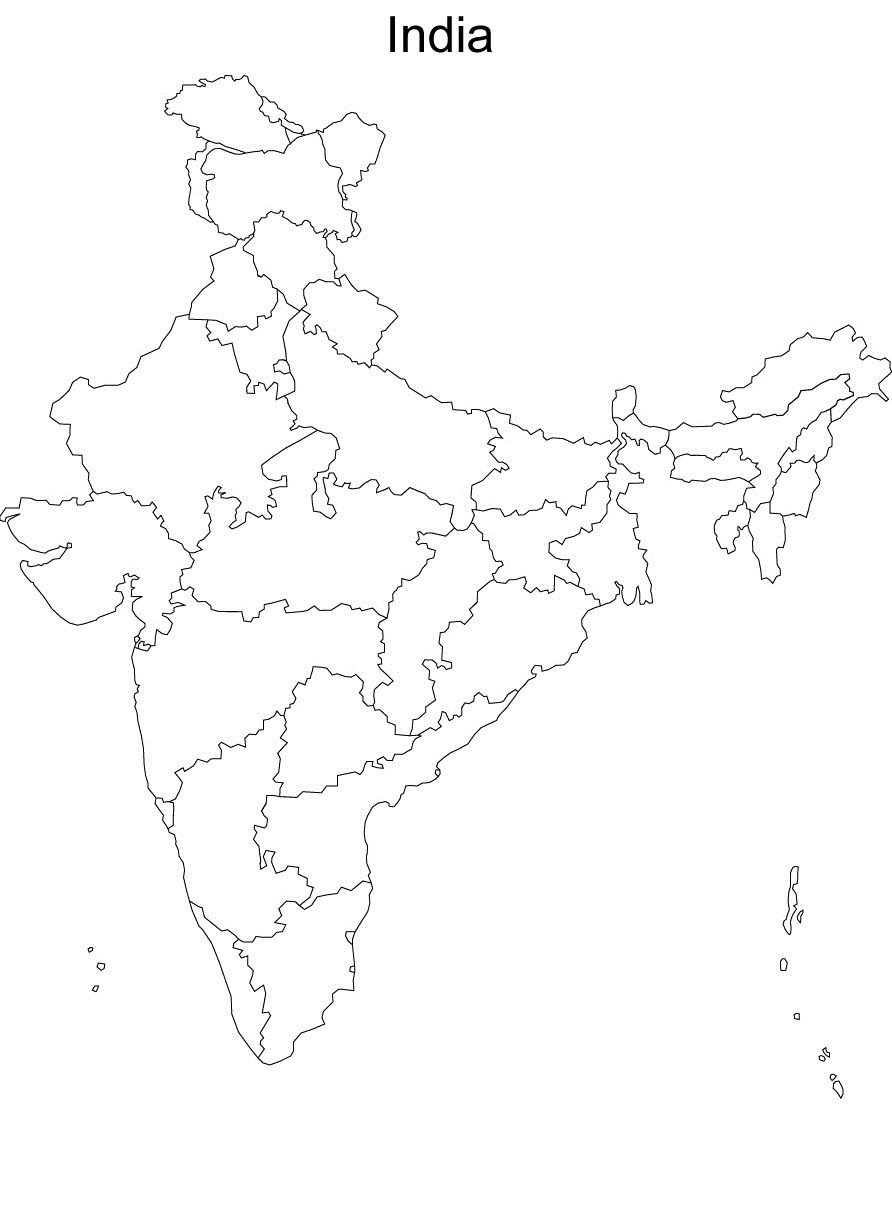 India Blank Map Map Of India Without Names blank political map of india without