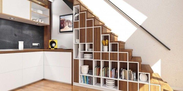 escalier gain de place avec espace de rangement intégré, cuisine