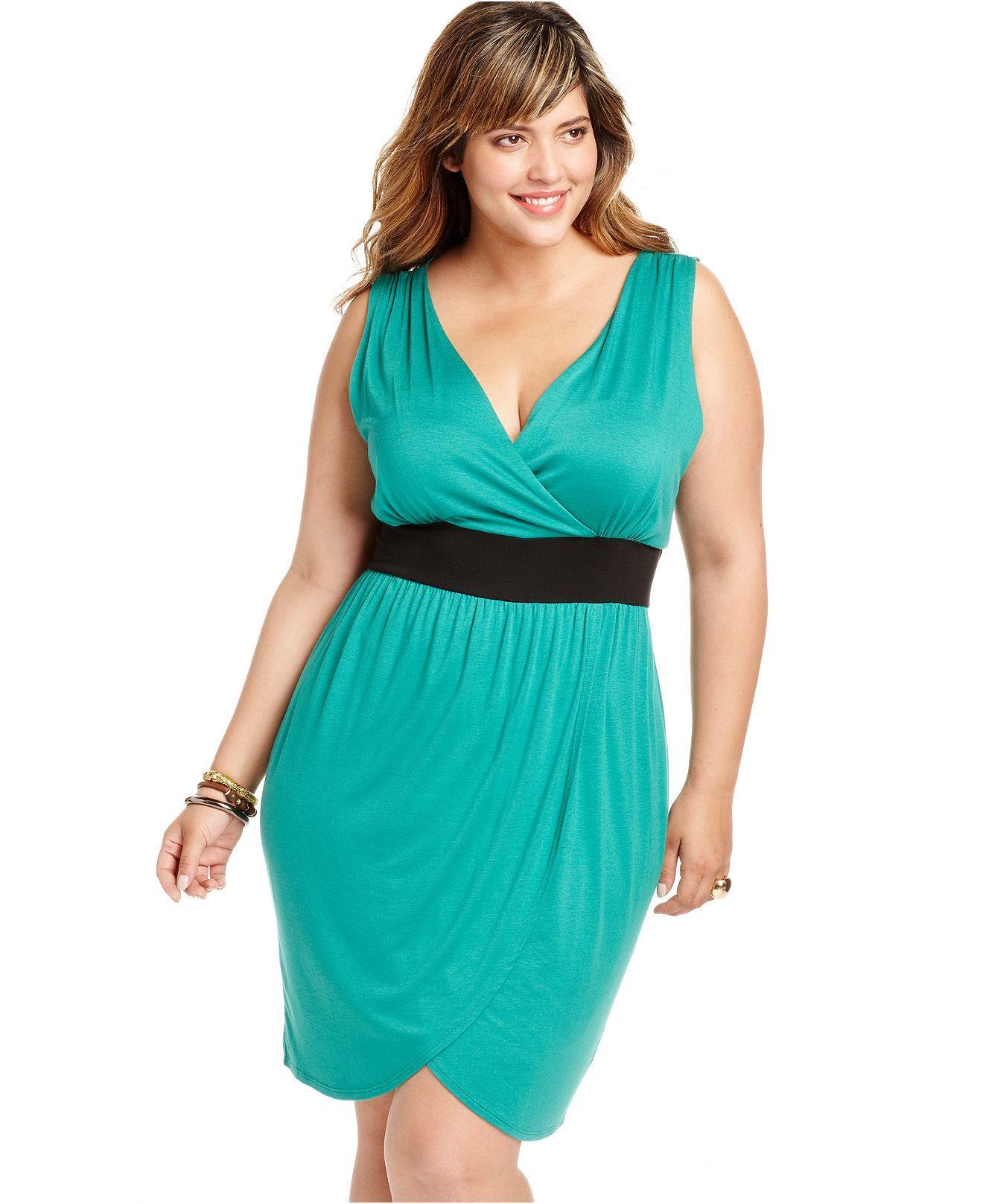 Soprano Plus Size Dress, Sleeveless Banded Empire - Plus Size ...