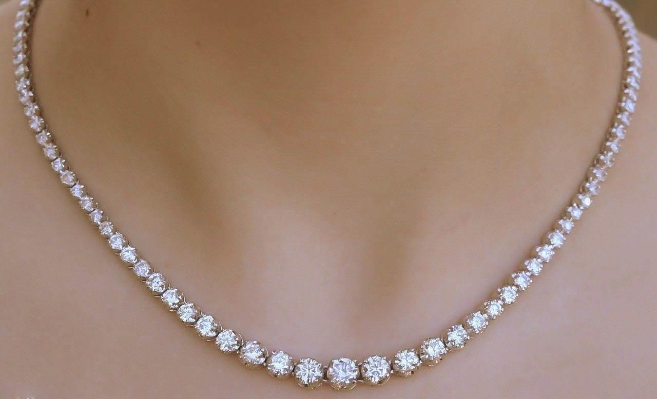 14k Tennis Necklace Diamond 16 40ct Graduated White Gold Clear Very Sparkly Diamond Tennis Necklace Tennis Necklace Diamond Necklace