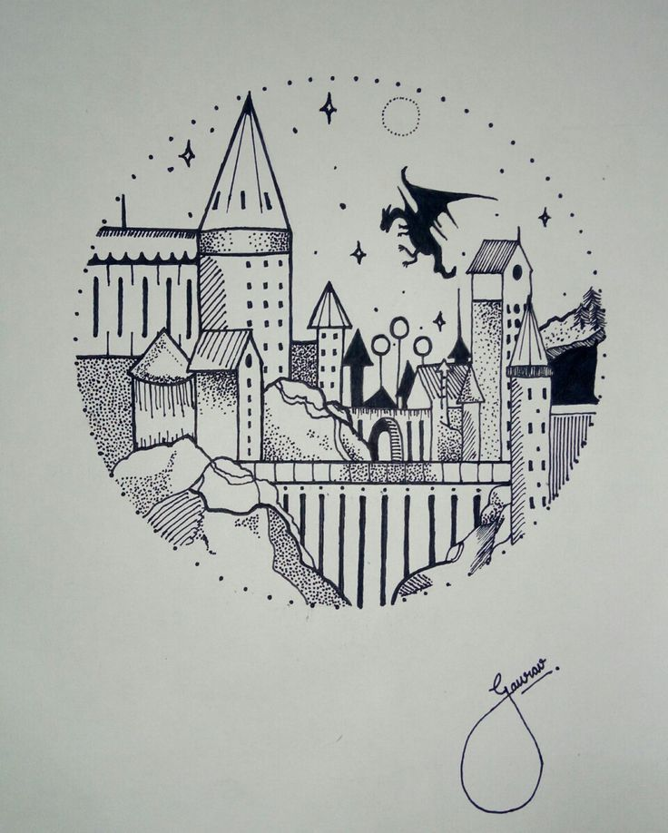 Hogwarts Drawing Doodle Doodle Drawing Hogwarts