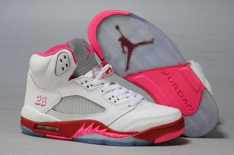 Air Jordan 5 Retro GS White Fire Red Pink Flash Women s Basketball Shoes b91e06568