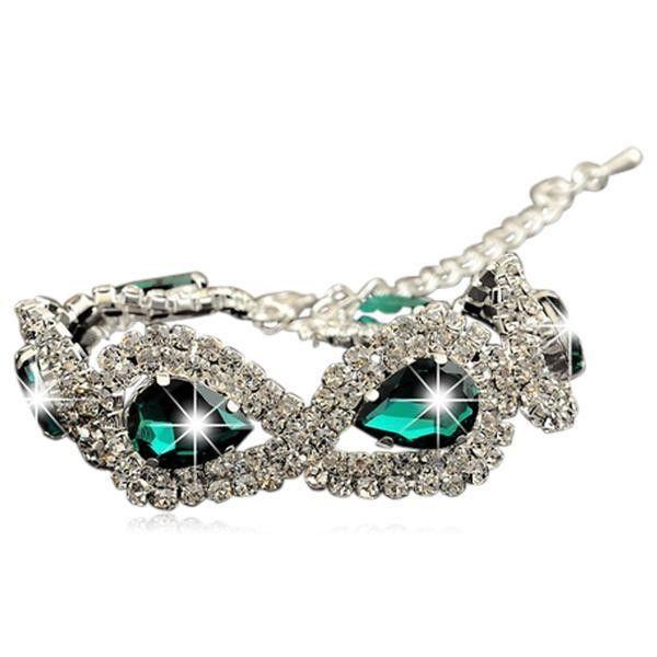 Pera - Shiny Water Drop Swarovski Crystals Sterling Silver Bracelet