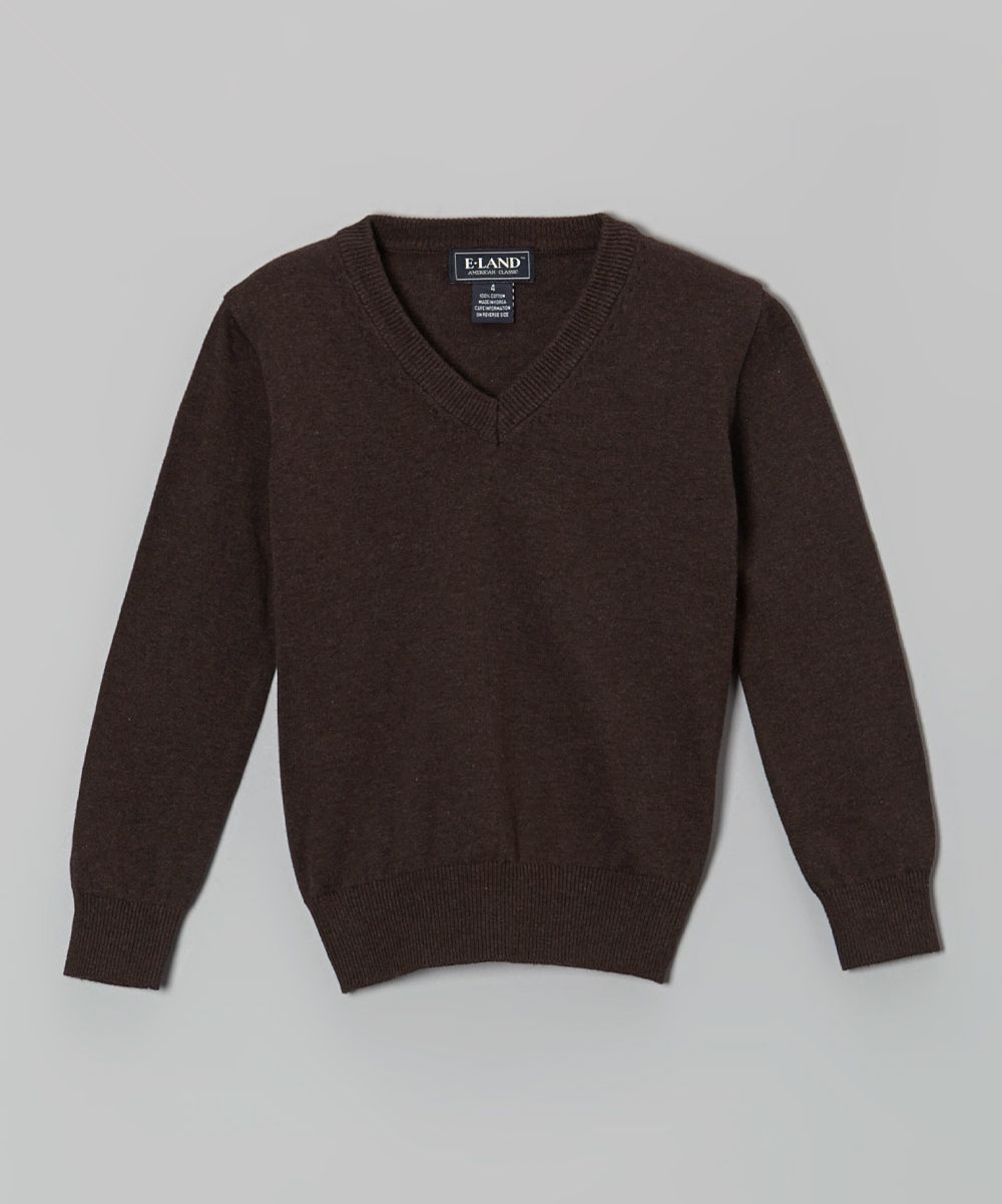 Brown V-Neck Sweater - Toddler & Boys | Products | Pinterest