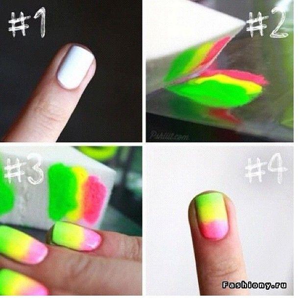 How To Ombr Nails Pretty Nailpolish Nails Ombre Howto Green