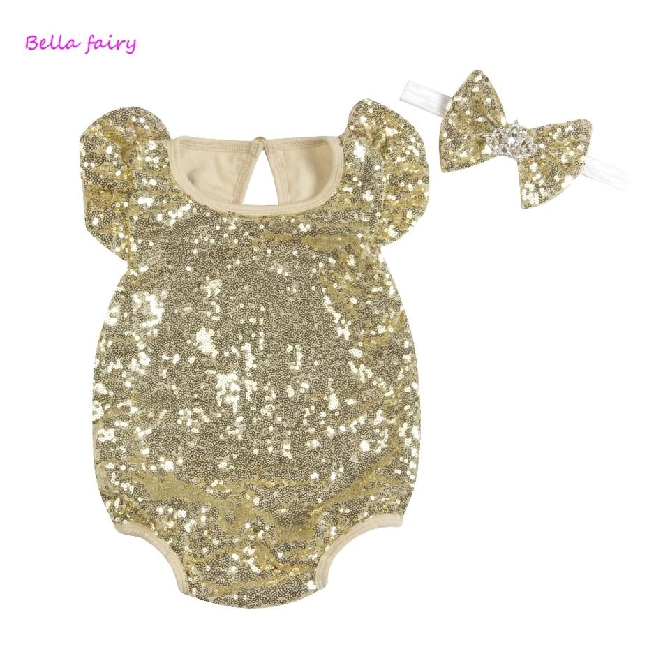 ea94af20e765e Baby girl sequin onesie with matching princess bow headband gold ...