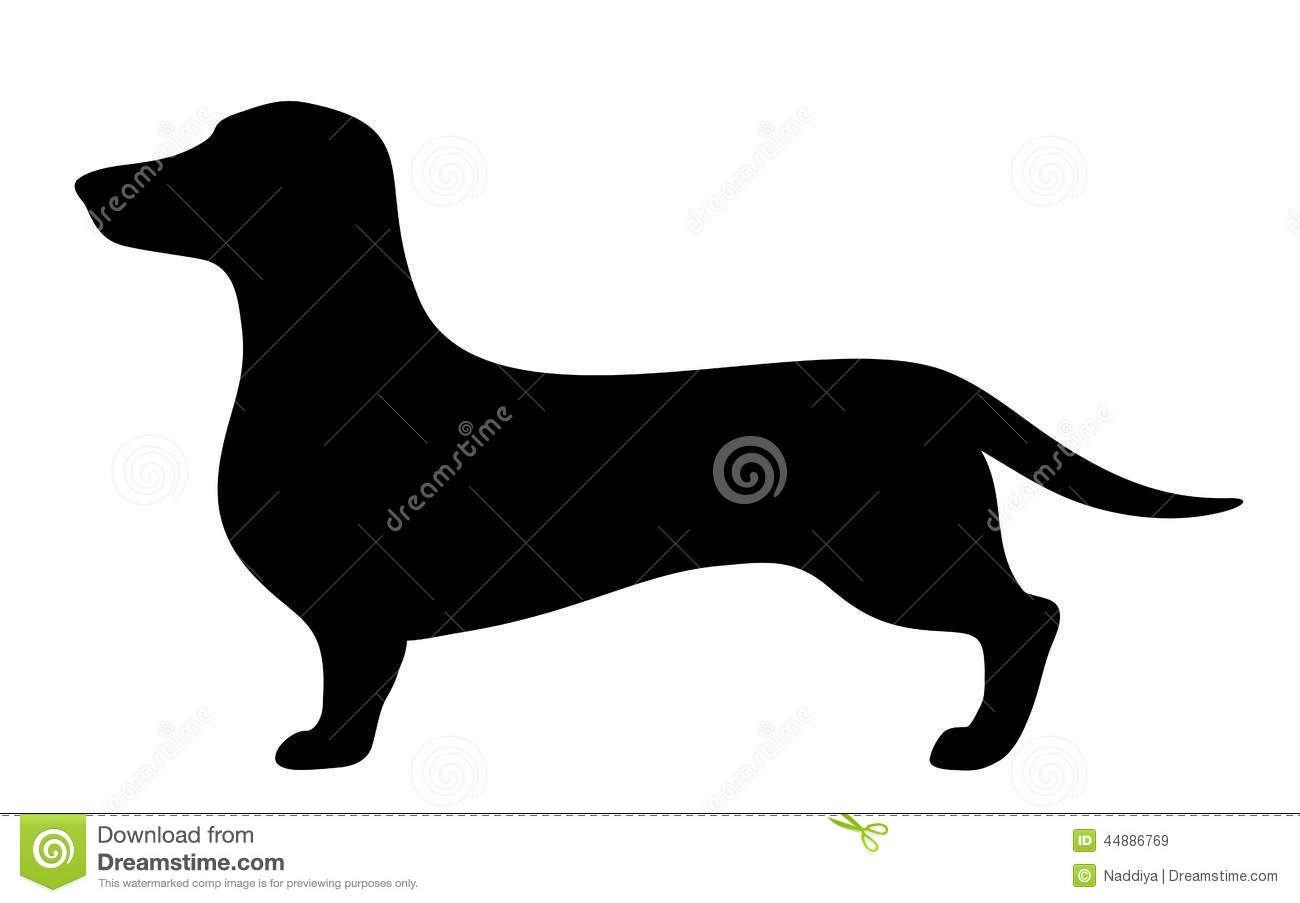Dachshund Dog Vector Black Silhouette Stock Vector
