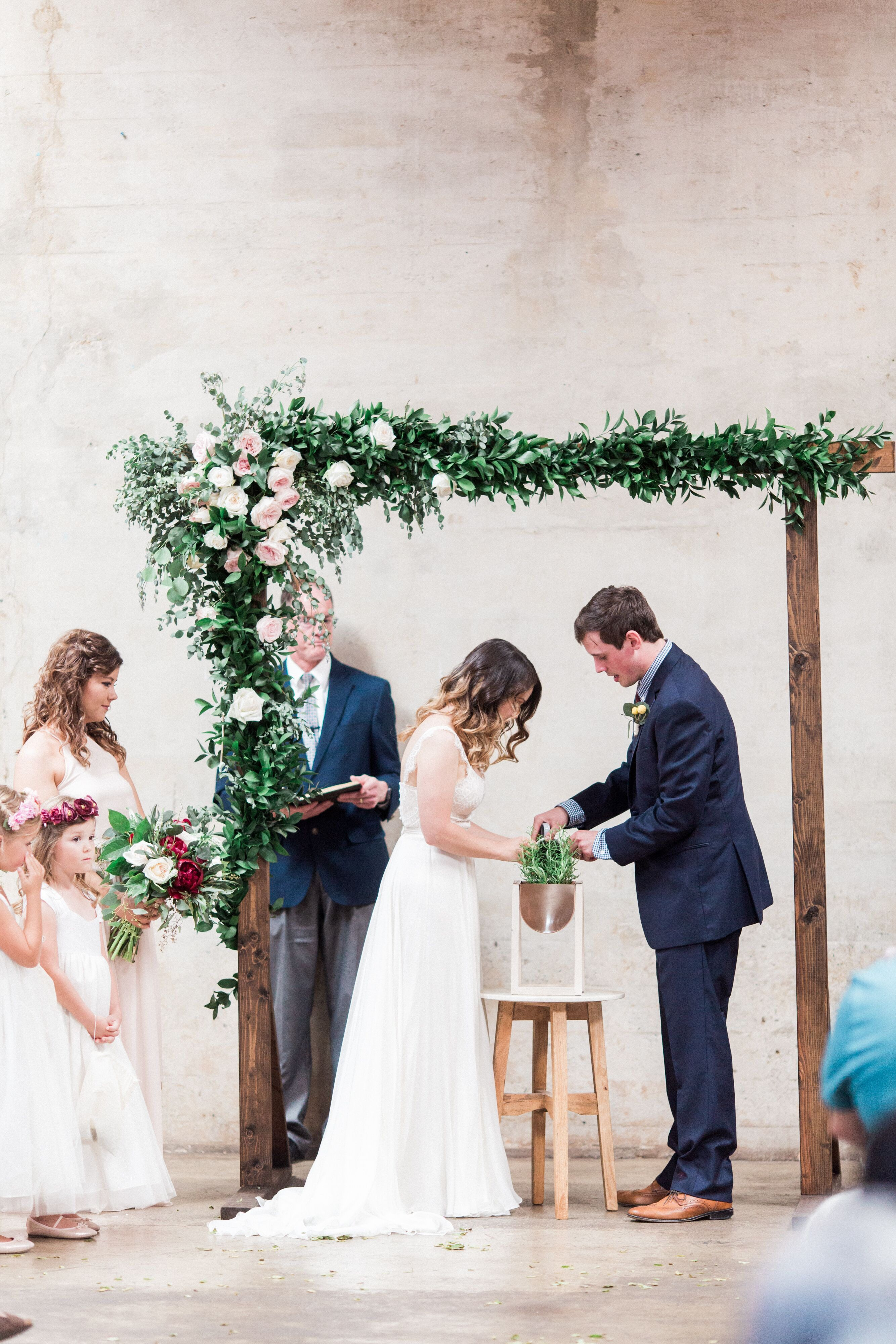 Diy wood wedding arch with vines and pink roses in 2020