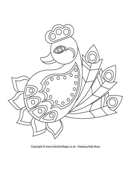 RANGOLI: Here\'s a lovely rangoli colouring page in the shape of a ...