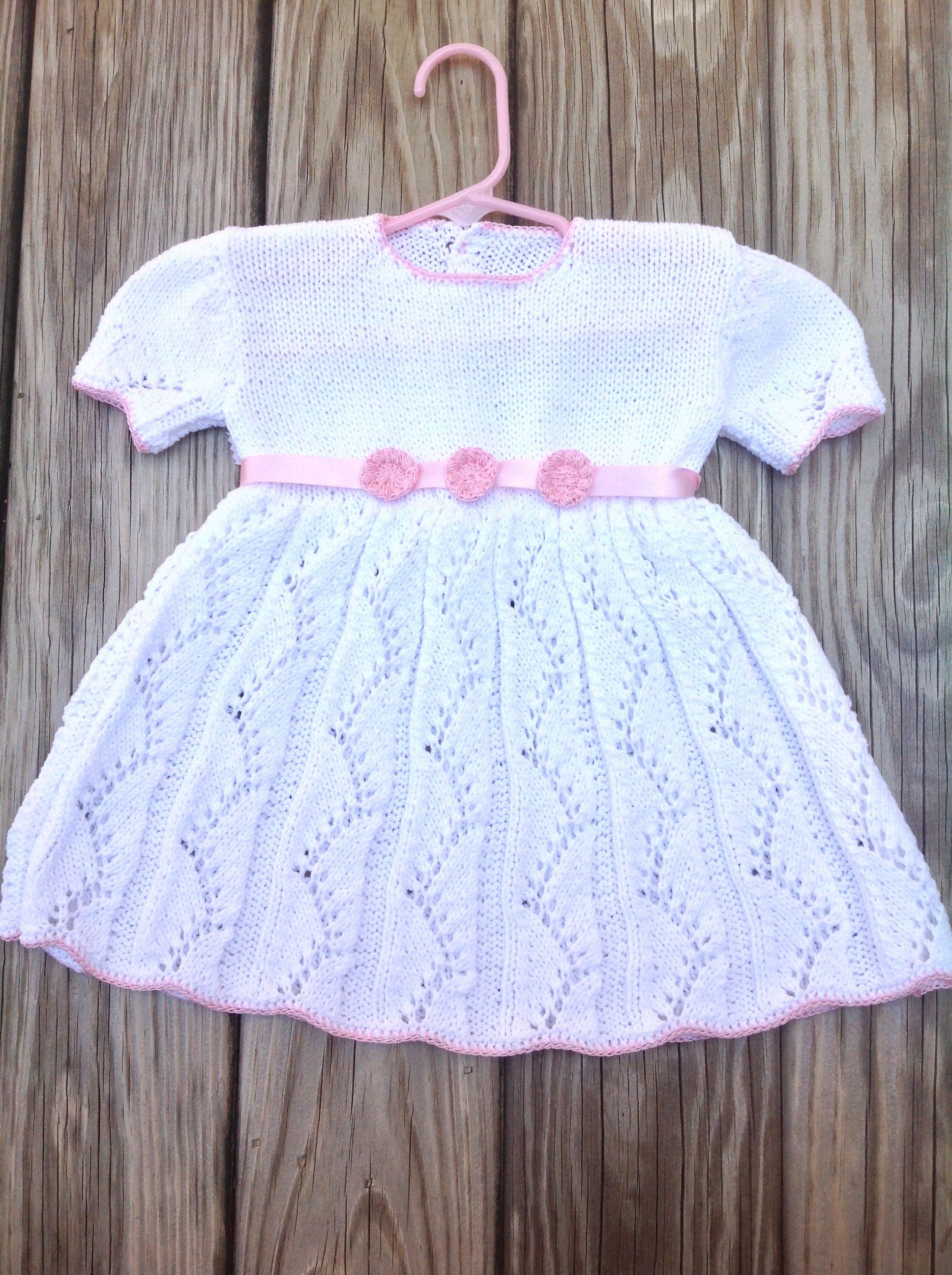 Knit baby dress with pink belt knitted white dress pink crochet