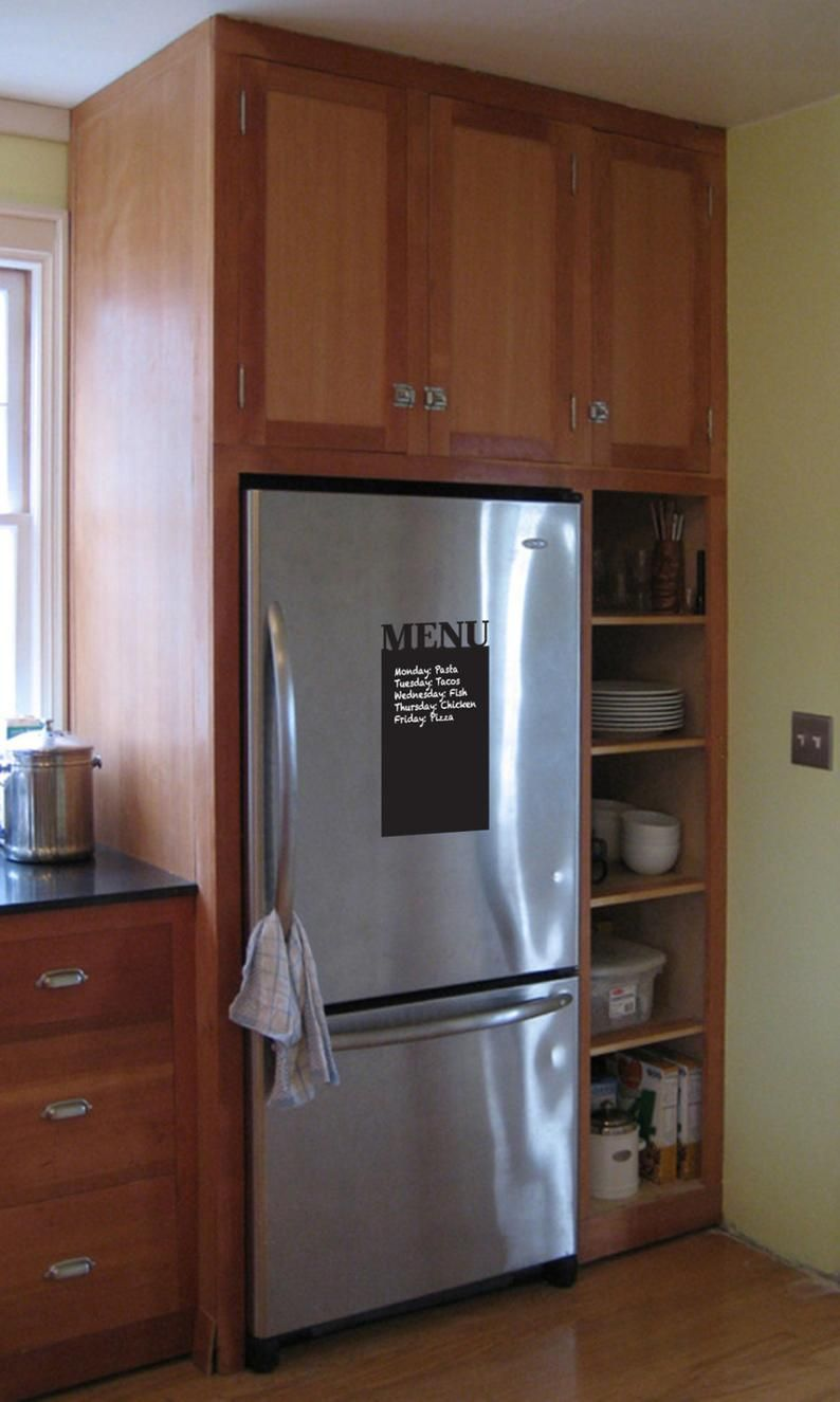Chalkboard Menu Removable Decal Meal Organization Weekly Etsy In 2020 Corner Kitchen Cabinet Craftsman Kitchen Built In Refrigerator
