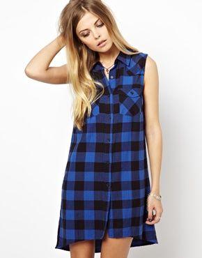 Vestido de cuadros escoceses de Noisy May Petite asos el-azul Cuadros