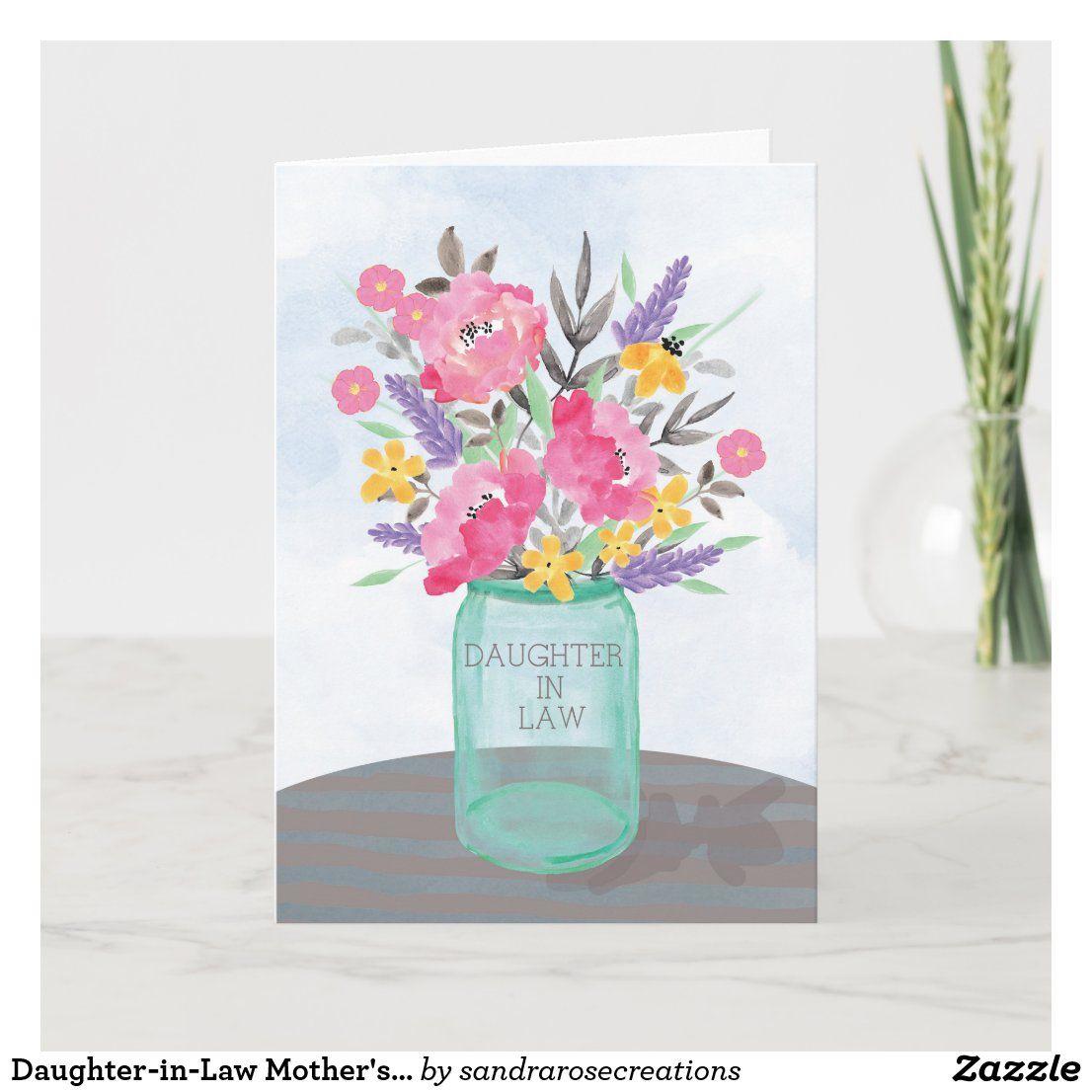 Daughterinlaw mothers day mason jar vase card zazzle