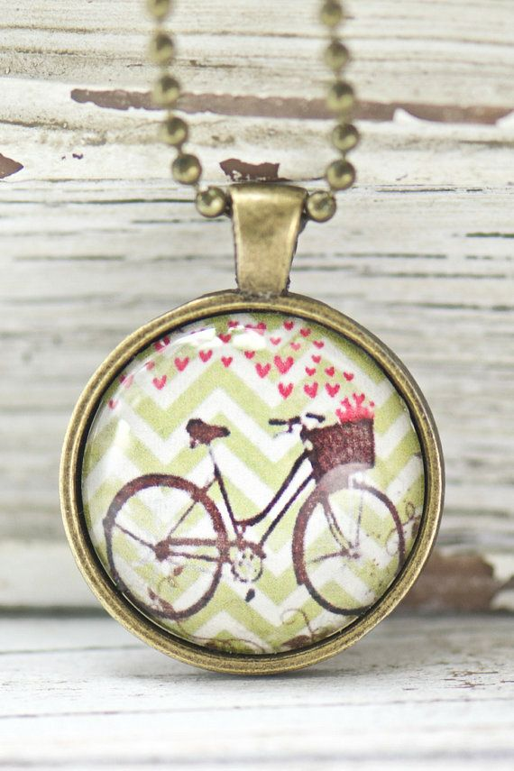 Boho jewelry gift for her bicycle unique necklace best friend bicycle pendant necklace jewelry gifts for the sports lover glass pendant jewelry aloadofball Image collections
