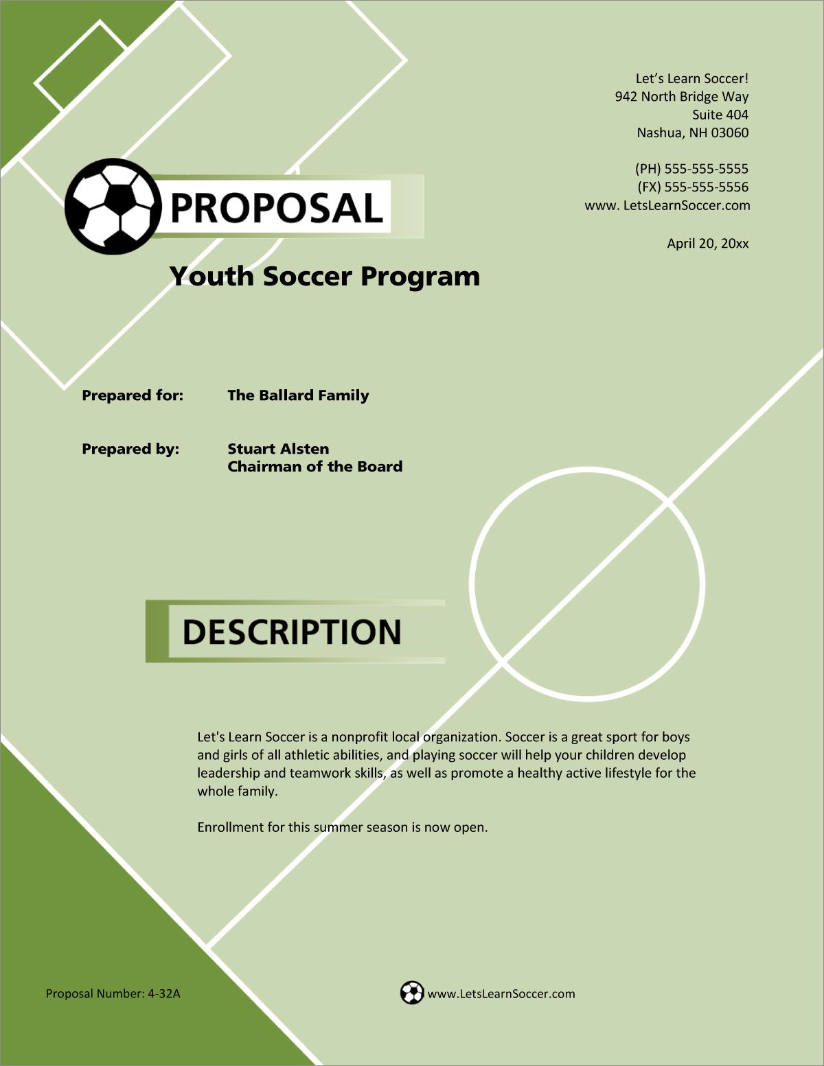 Youth Sports Program Sample Proposal Proposal Title Page Example Business Proposal Examples Sports program template microsoft word