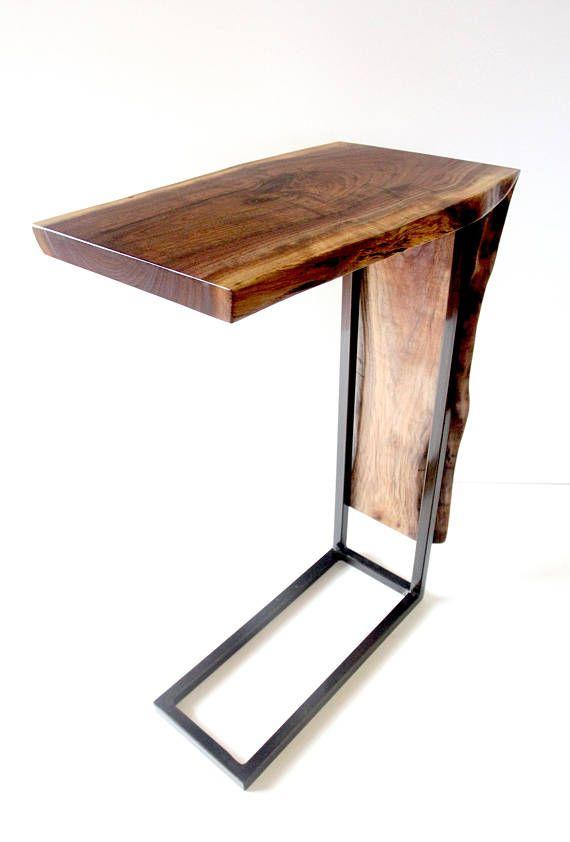 C Table Waterfall Table Live Edge Walnut Wood C Table Live Edge