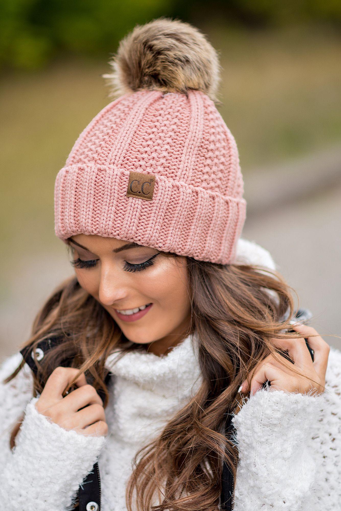 cc knit blanket lined fur pom pom beanie (indie pink) | fur pom