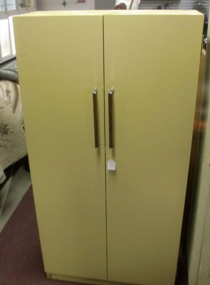 Vintage Retro Mid Century Modern Metal 2 Door Cabinet With Shelves Wardrobe Retro Mid Century Retro Vintage Mid Century Modern