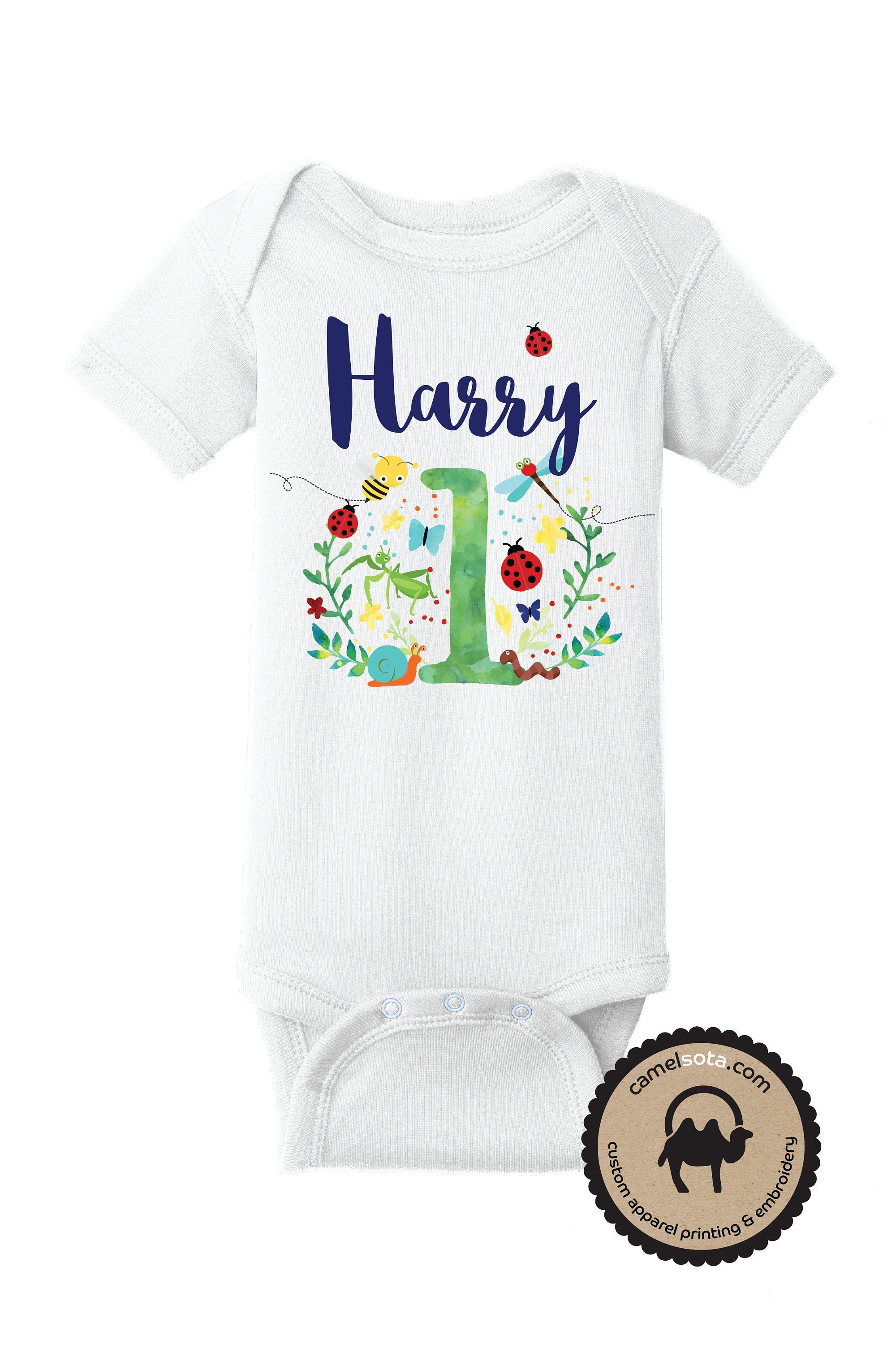 Custom Printed First Birthday Bug Bodysuit Ladybug 1st Dragonfly Shirt Bee