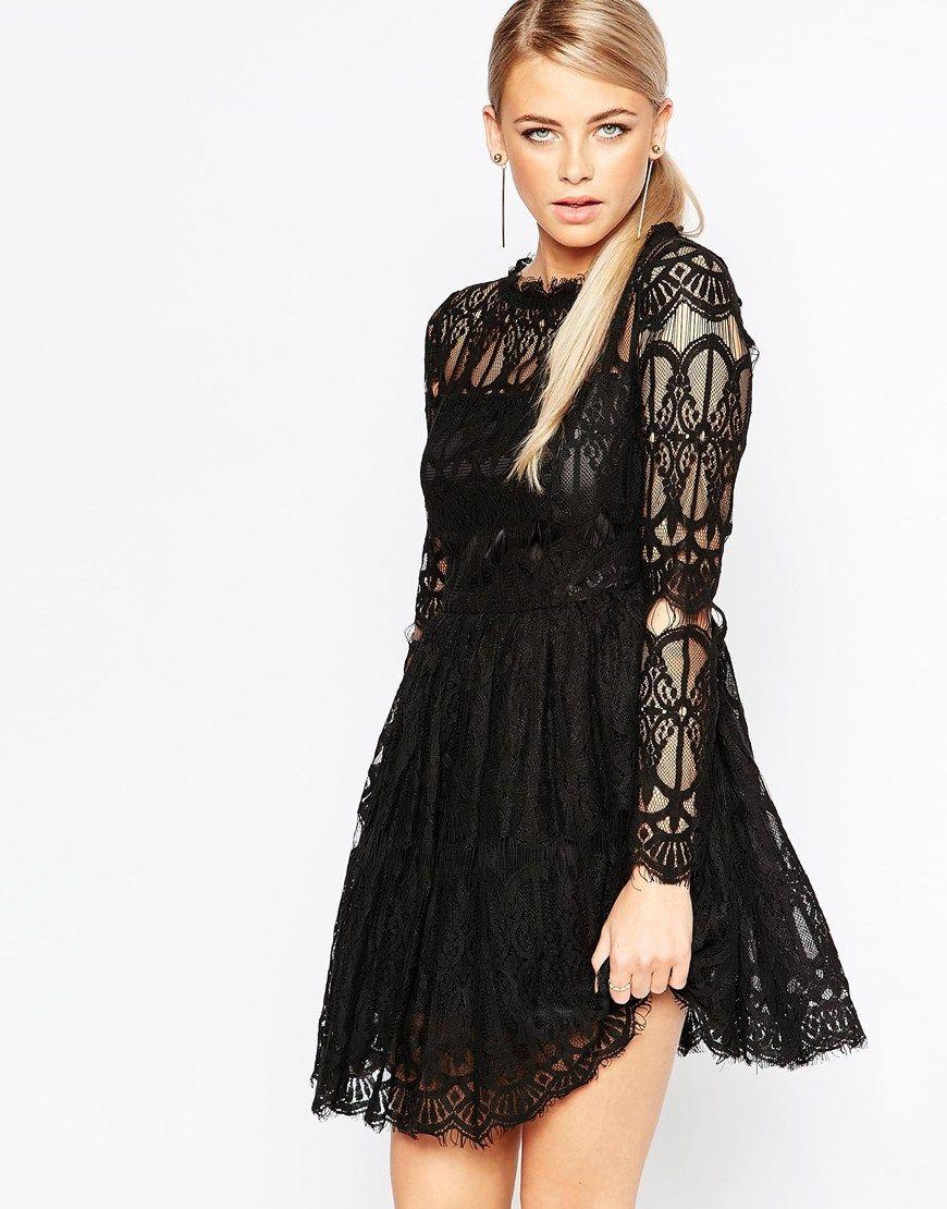 61fe2c1402f Boohoo Premium Lace Skater Dress | Stylin' | Skater Dress, Dresses ...