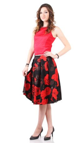 Lucy Paris Print Skirt  - 90216-26 Black and red floral print skirt
