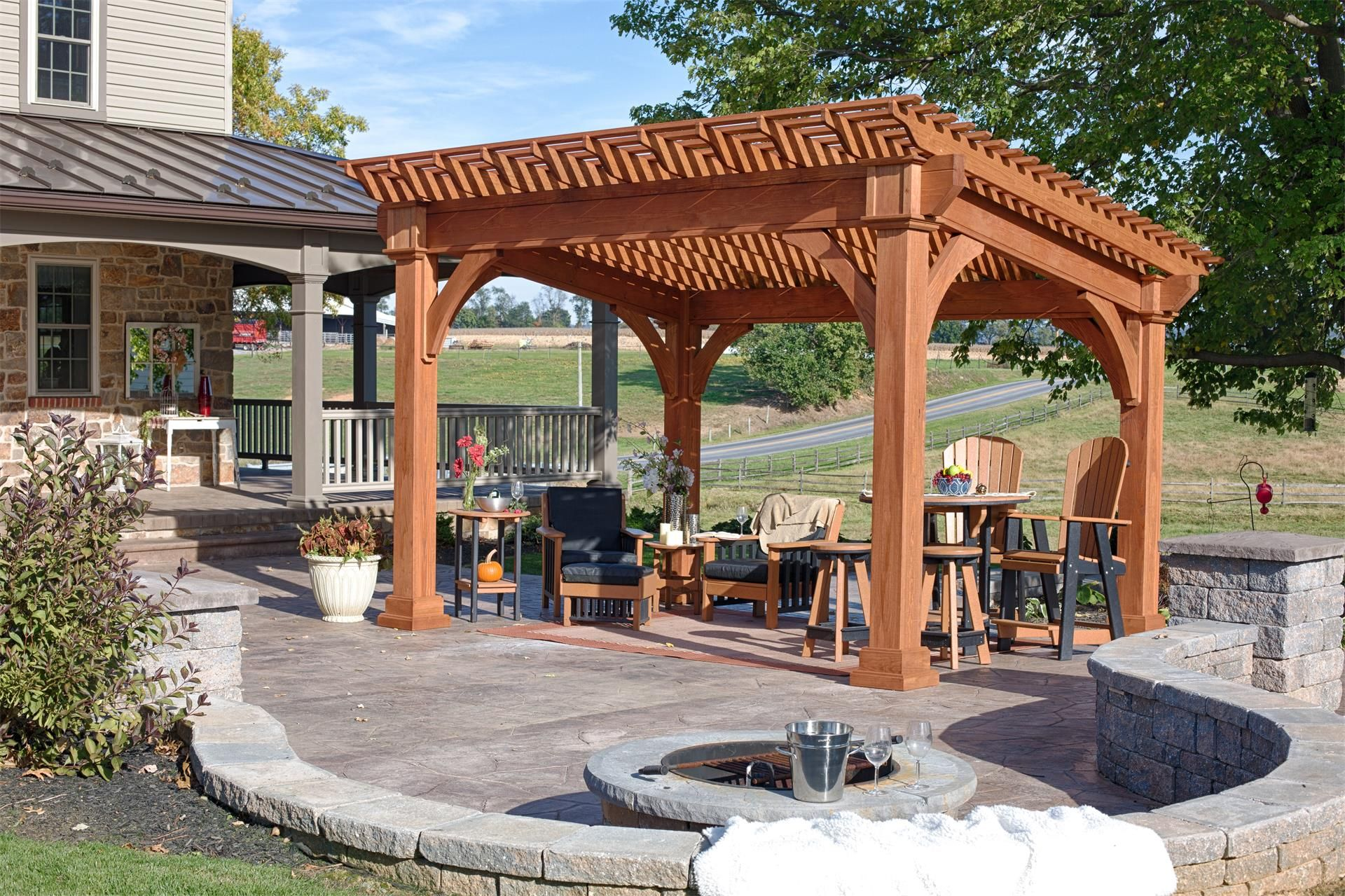 Amish Santa Fe Pine Pergola Kit Backyard Pavilion Outdoor Pavilion Modern Gazebo