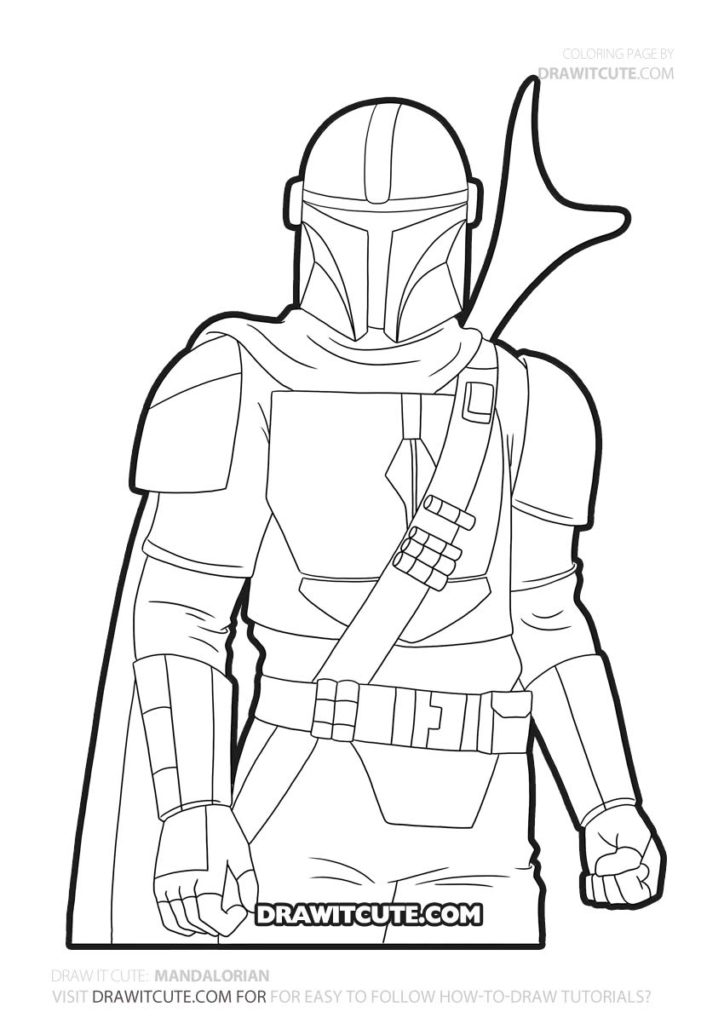 How To Draw Mandalorian Star Wars Draw It Cute Themandalorian Mandalorian Coloringpage Star Wars Drawings Star Wars Coloring Book Star Wars Art Drawings