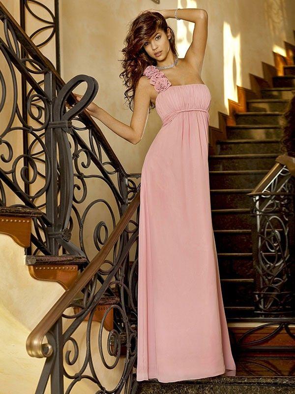 A-Line/Princess One-Shoulder Sleeveless Floor-length Chiffon ...