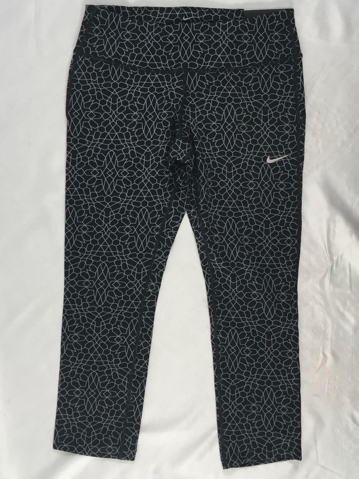 Nike Epic Run Women's Cropped Leggings Dri-Fit 010 Black 872262 Size M