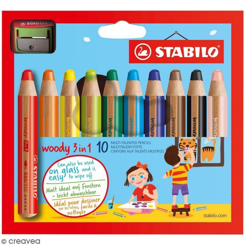 Caja De 10 Lapices Para Colorear Stabilo Woody 3 En 1 Punta De 10 Mm 1 Sacapuntas Lapices Para Colorear Creavea Lapices Cera Cajas De Lapices