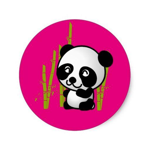 Cute black and white panda bear in a bamboo grove. round sticker