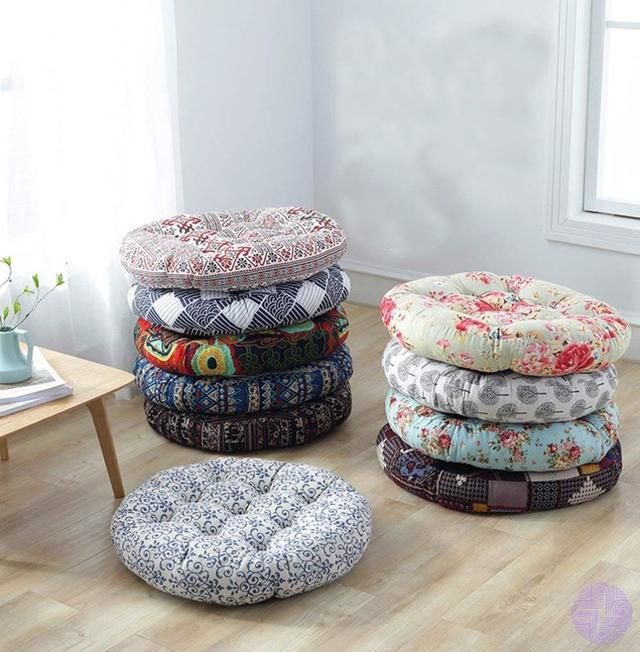 Patterned Japanese Style Button Tufted Floor Cushions In 2020
