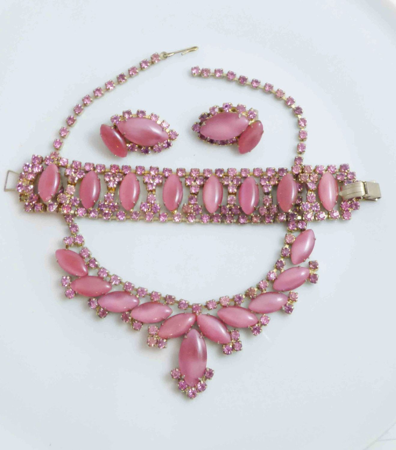 Pink Moonstone and Rhinestone Parure. Necklace, Bracelet and Clip Earrings