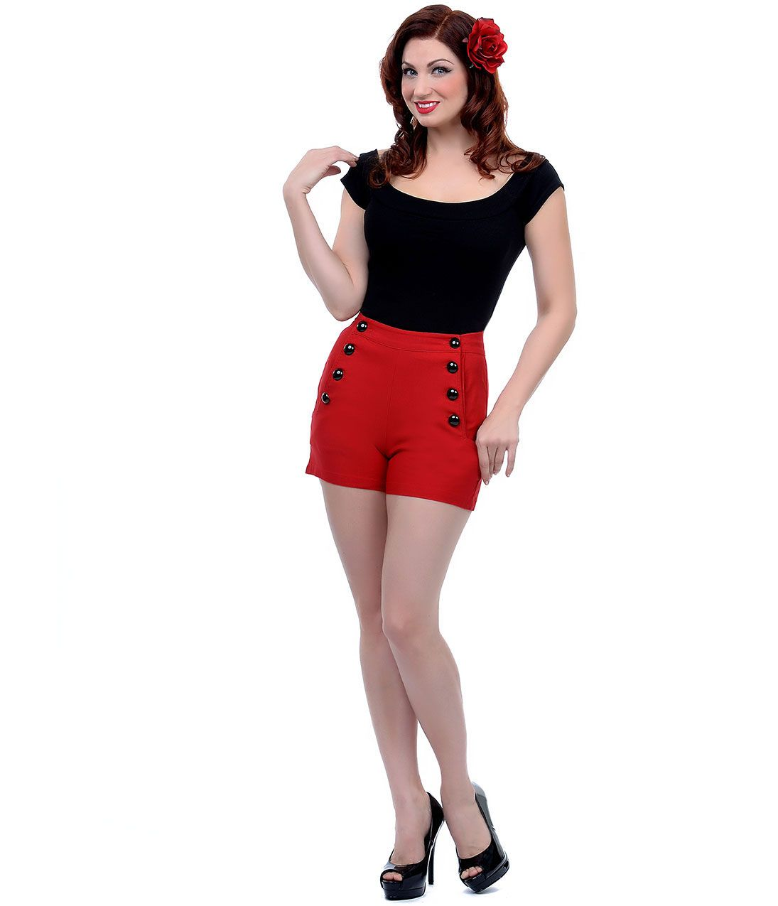 High Waisted Shorts- 1950s Vintage, Pinup, Rockabilly   Red high ...