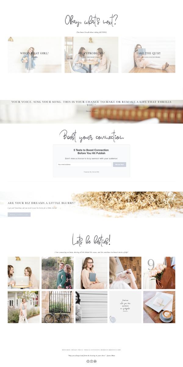 Custom Modern And Artistic Website Design By Kristen Fulchi Design Studio Simple Minimal Feminine Web Layout Inspiration Custom Web Design Web Layout Design