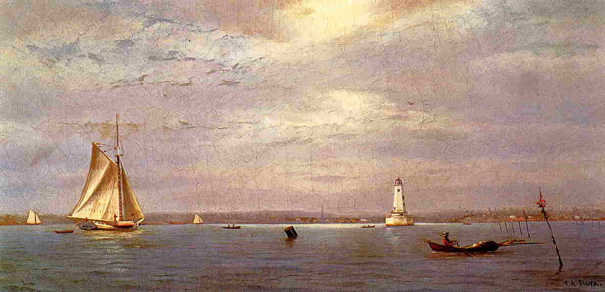 'Robin's Reef Lighthouse off Tomkinsville, New York Harbor', Oil On Canvas by…