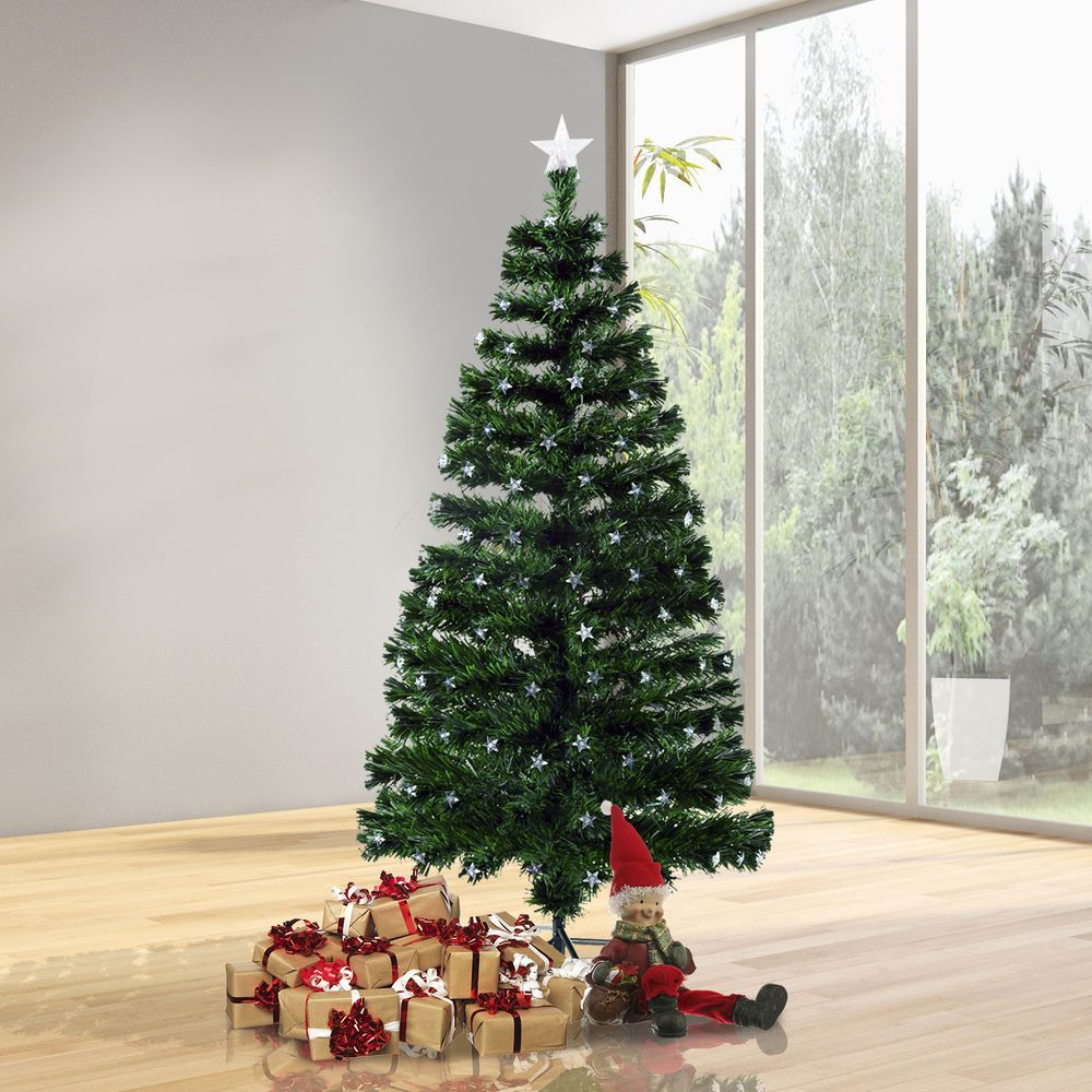 7.5 Ft Artificial Christmas Tree Prelit LED Light Rotating Stand ...
