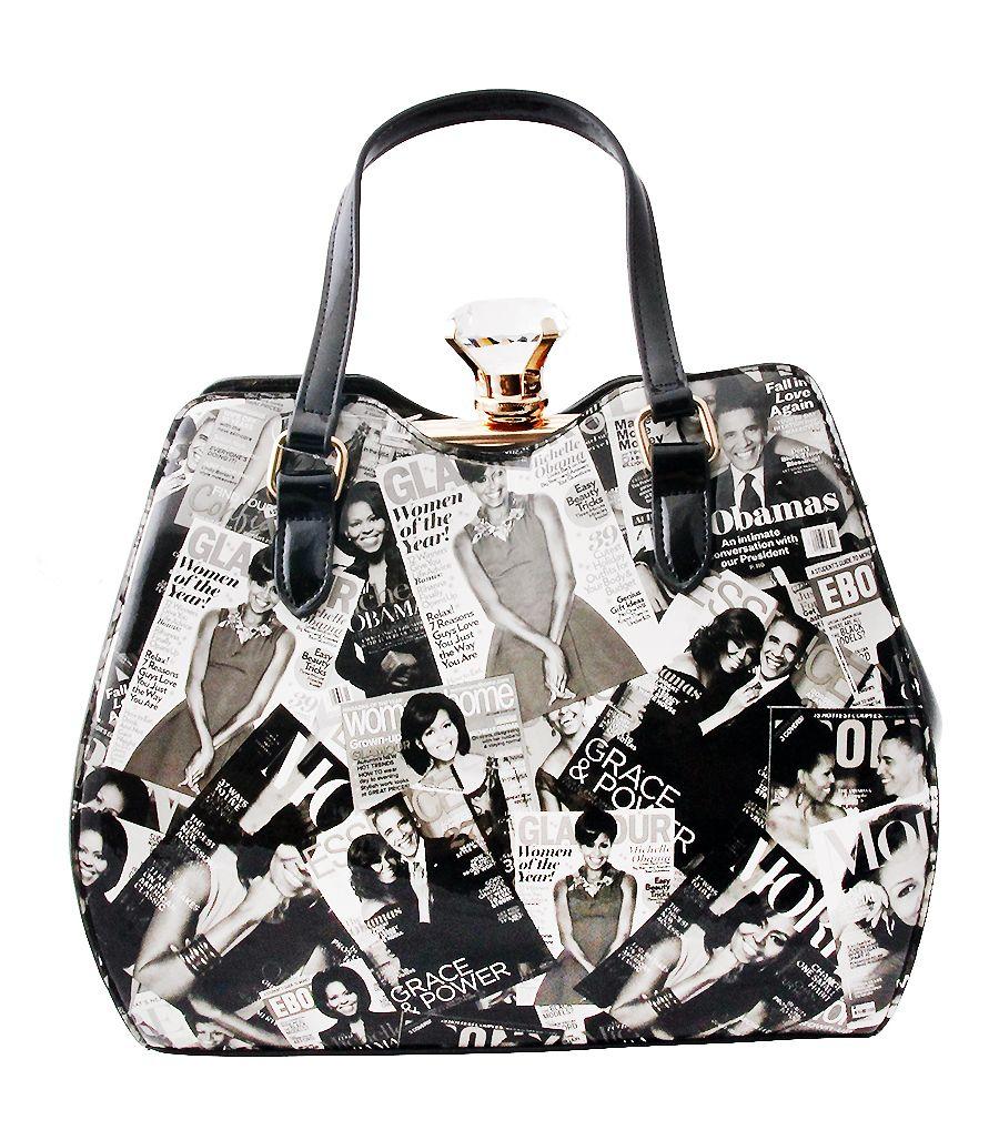 The Obama s Magazine Print Doctor Hand Bag with Diamond  2b0ce62d90362