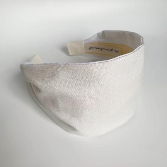 Your place to buy and sell all things handmade  White Linen blend Headbands for women . Jerseymaid adult headband woman structured no slip wide hai #Buy #handmade #place #Sell