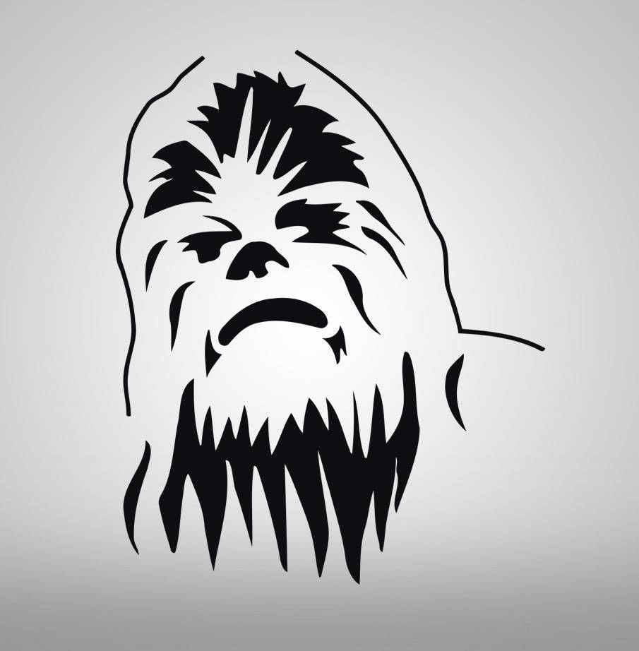 details about chewbacca star wars decal wall sticker art home chewbacca star wars decal wall sticker art home decor stencil silhouette sst004 in home garden