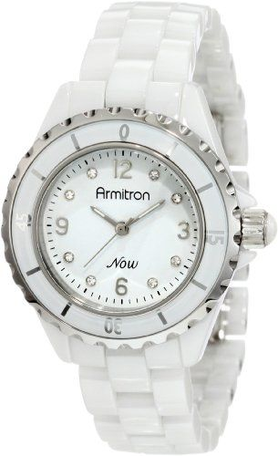 Armitron Women's 753920WTSV Swarovski Crystal NOW Silver-Tone and White Ceramic Bracelet Watch | Your #1 Source for Watches and Accessories