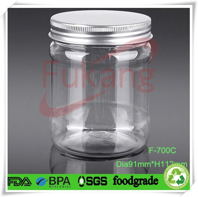 Decorative Bottles Wholesale Awesome Metal Cap For 700Ml Pet Plastic Food Grade Decorative Jam Jars Design Decoration