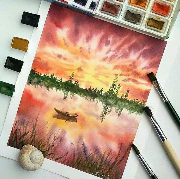 Neko Gato On Deviantart Watercolor Landscape Paintings