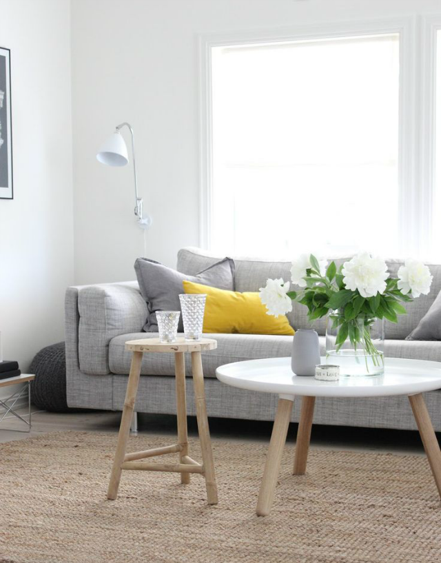 Do It Yourself Home Design: Neutral Sofa And Natural Jute Rug Are The Anchors For