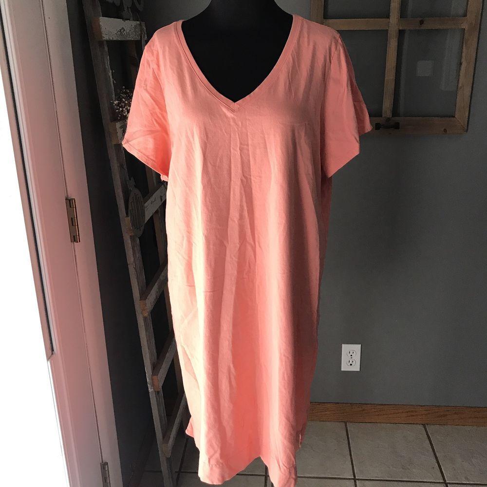 Purejill jjill peach v neck cotton short sleeve beach t shirt