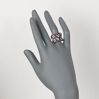 Ross-Simons - 1.20 ct. t.w. Ruby and 2.00 ct. t.w. Black and White Diamond Flower Ring in 18kt White Gold - #817925