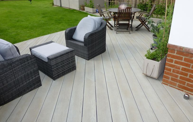 Millboard enhanced grain smoked oak decks