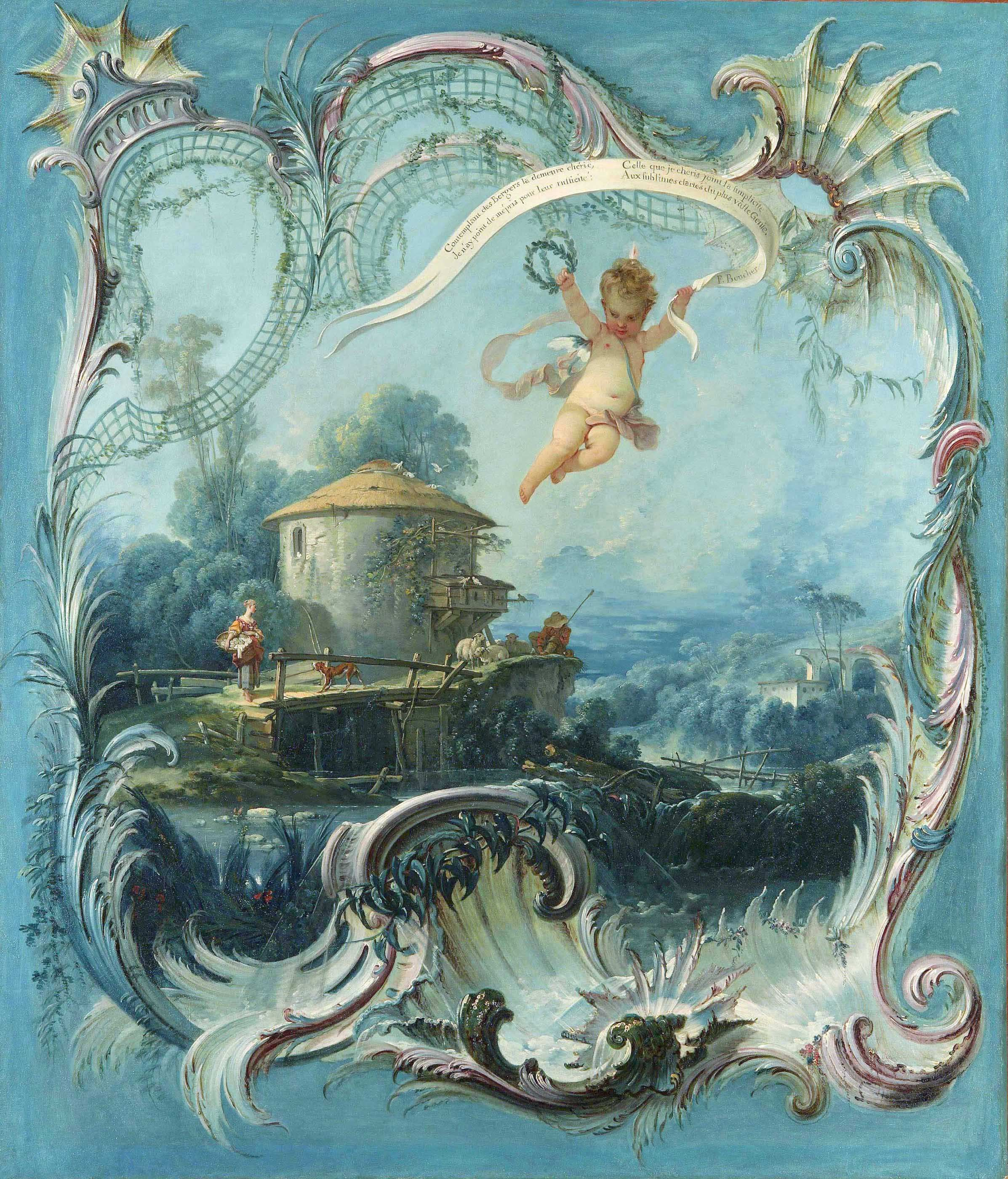 The Enchanted Home  A Pastoral Landscape Surmounted by Cupid by Francois Boucher, Oil on canvas