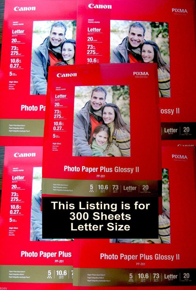 300 Sheets 85x11 Canon Pixma Photo Paper Plus Glossy Ii 73lb Inkjet