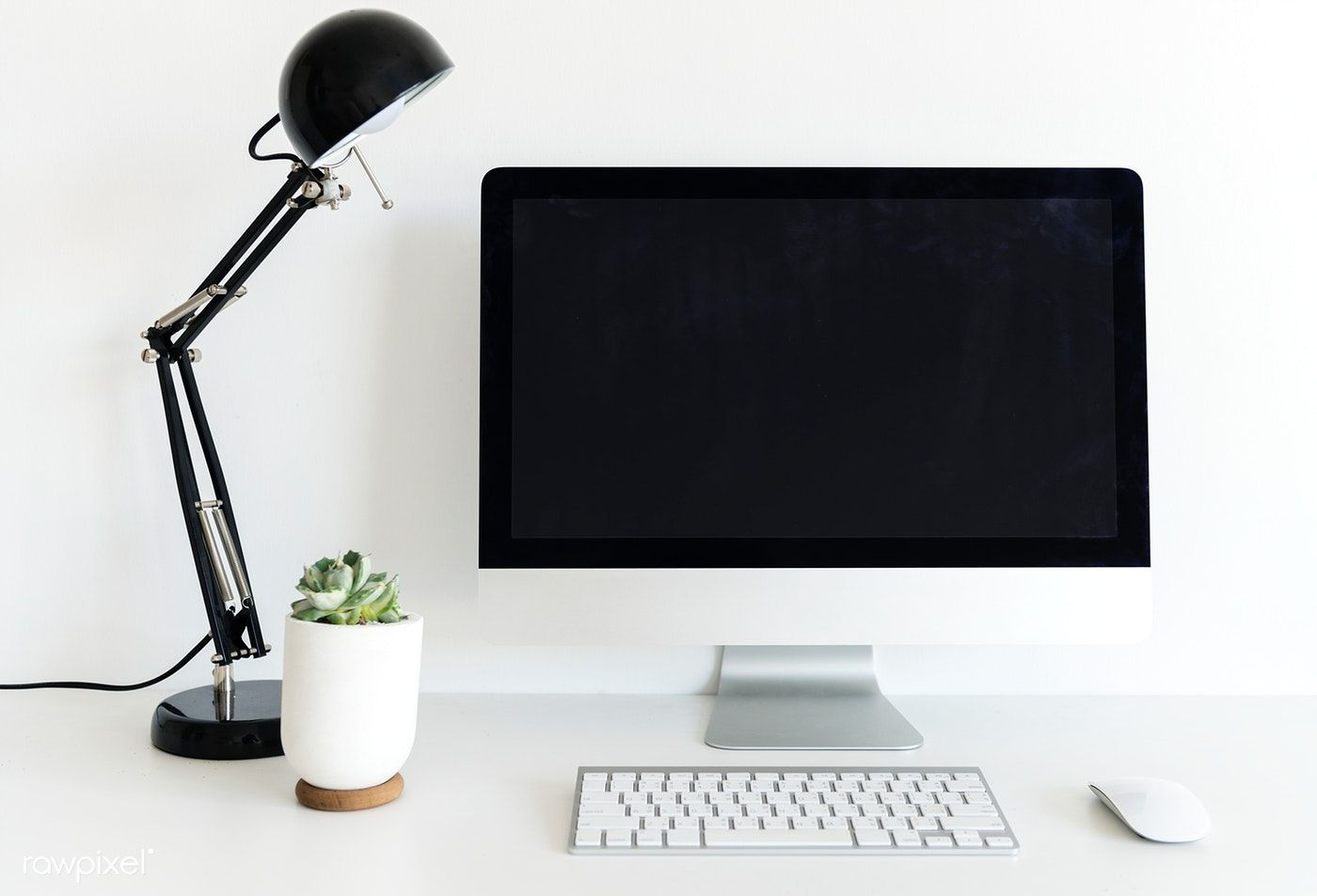 Download Premium Image Of Computer On The Desk With White Background 2786 White Background Clean Desk Three Photo Frame